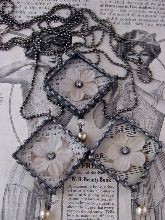 Vintage Silk Flower Diamond Necklace by rochellemybelle on Etsy