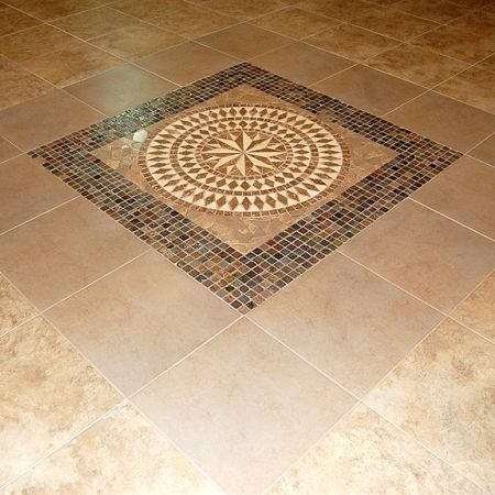 Inlaid ceramic tile floor