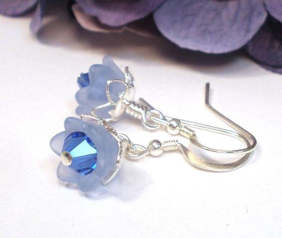 Blue Crystal Flower Earrings on Etsy, $10.00