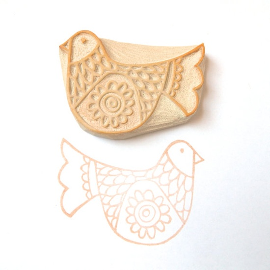 Scandinavian Bird Two Stamp, a new hand carved rubber stamp by creatiate