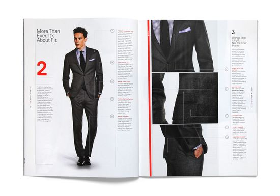 GQ STYLE MANUAL \ GQ approached us to design and art direct a special issue of their magazine. The GQ Style Manual is a all-in-one reference for the well dressed man. Lacking advertisements and separated into chapters–the content of the Manual flows more like a book. We developed a grid that slices each spread into vertical segments of varying width.