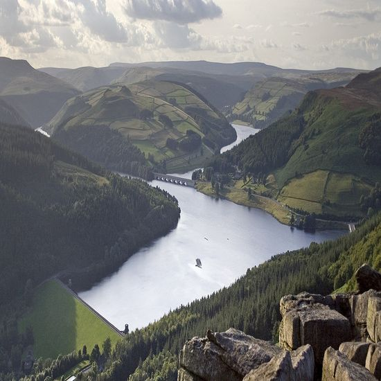 This is a view of Ladybower Reservoir taken from Bamford Edge in the Peak District.