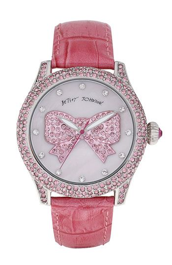 Betsey Johnson Graphic Dial Leather Strap Watch
