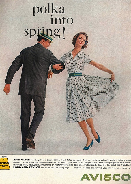 Polka into spring! Happily!!! :) #vintage #fashion #1950s #dress  #polka_dots #ad