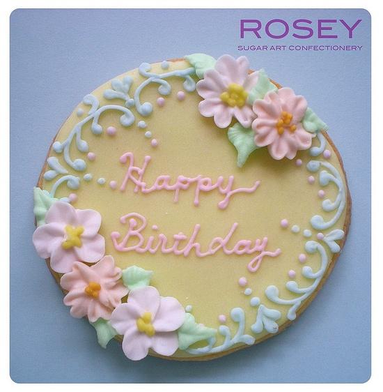 Rosey Sugar - Happy Birthday sugar cookie