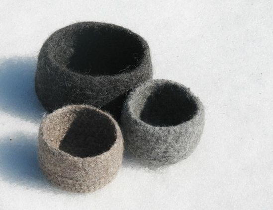 Grey Felted bowl  Organic ecofriendly  Grey and by theYarnKitchen, $35.00