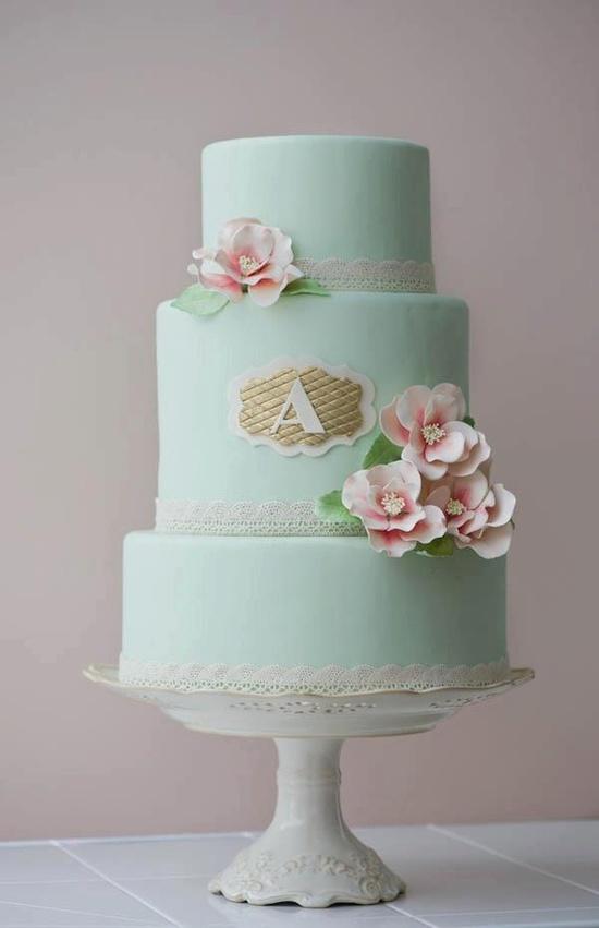 Mint wedding  cake