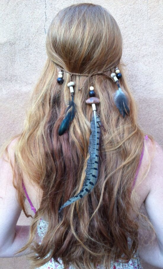 Huntress Feather Headband/ Feather Headdress/ Boho Headband/ Boho Headdress/ Hair Feather/ Festival Accessories on Etsy, $38.00
