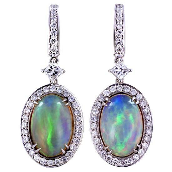 Opal and diamond earrings