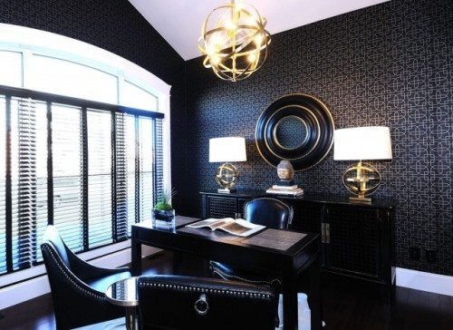 Office de l'homme. You should no longer be afraid of the dark. Power your entire office elegantly with bold, dark color on the walls and for the furnishings, for a handsome space any man would love. Contemporary home office by Atmosphere Interior Design Inc.