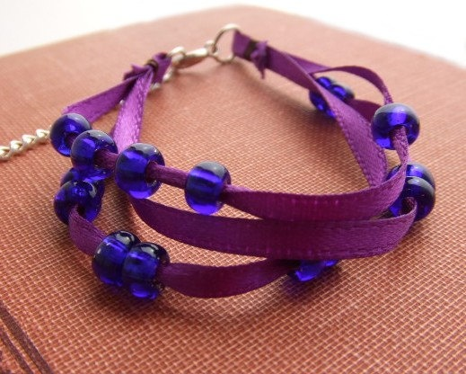 New #layered #bracelet in the shop! #jewelry #purple #ribbon @Etsy! @Everything Etsy