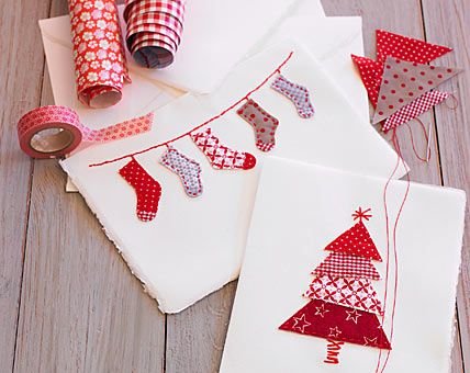 Cute patchwork tree for Christmas cards. #christmas #stockings #tree #red #white #card #simple