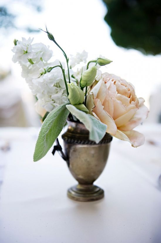 flower arrangements in sterling silver vases // photo by AshleyCamper.com