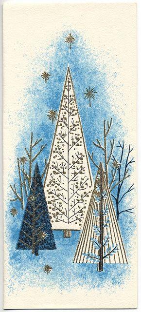 Mid-Century Trees 1950s - Vintage Christmas Card