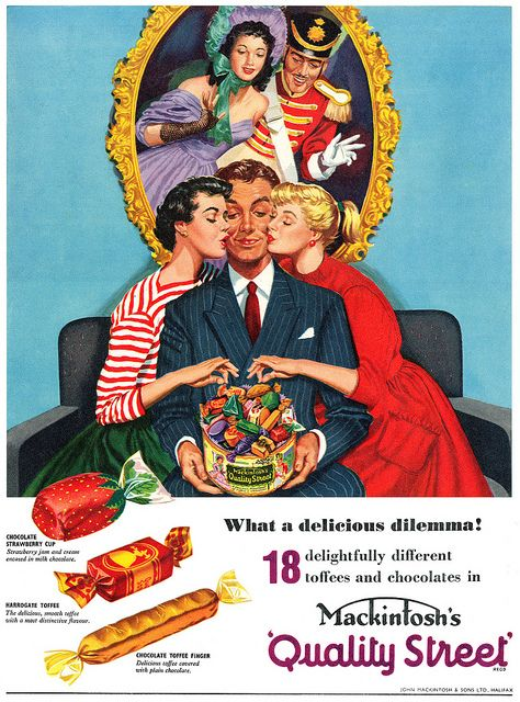 A delicious dilemma indeed! #vintage #ad #food #1950s #candy