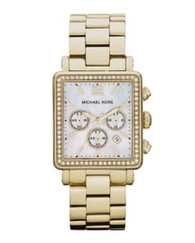"""""""THE SQUARED WATCH"""" Michael Kors Mid-Size Hudson Watch, Golden"""