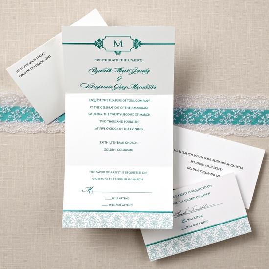 Damask Seal and Send Wedding Invitation