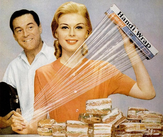 Knowing how much Margie loved using er Handi-Wrap, Bill just couldn't bring himself to tell her that he only ate two sandwiches a day, handing out the rest to passersby on the street as he walked to work :D #vintage #ad #homemaker #housewife #kitchen #food #1960s