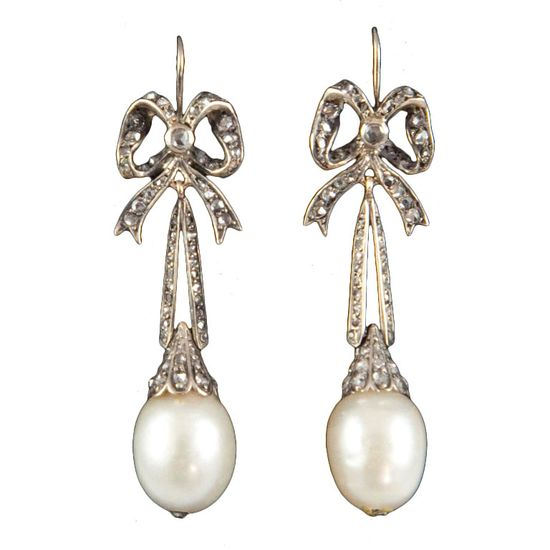 Victorian Natural Pearl and Diamond Earrings circa 1880