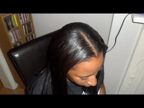 Middle Part Sew In Weave Tutorial (and braid pattern)...Diva Straight & ...Interesting braid pattern