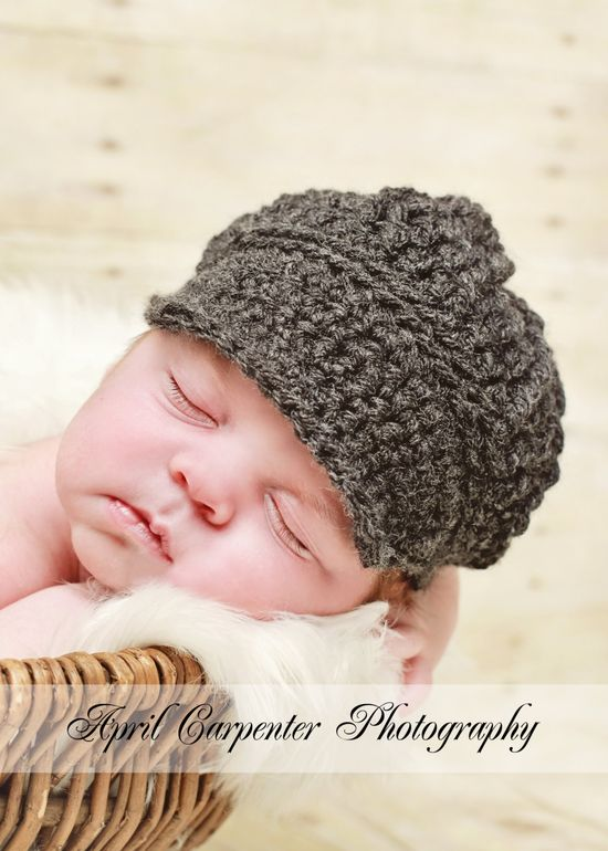 Baby Hats Baby Boy Hats Crochet Baby Hats Baby Boy Newsboy Hats Newborn Baby Boy Hats Newborn Photography Props Baby Hats Photo Props Boys. $24.00, via Etsy.