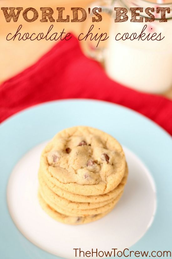 The Worlds Best Chocolate Chip Cookie Recipe from TheHowToCrew.com. Our familys favorite cookie! #recipes #cookies #dessert
