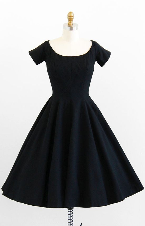 vintage 1950s little black classic party dress