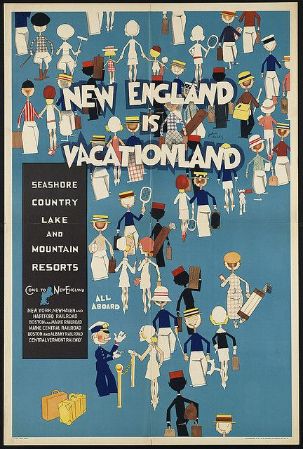 New England is vacationland. Seashore Country lake and mountain resorts by Boston Public Library, via Flickr