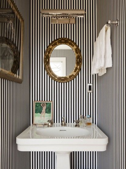 Powder Room in Kate and Andy Spade's Southampton home decorated by Steven Sclaroff...