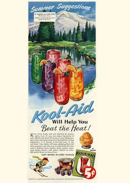 Beat The Heat with Kool-Aid. #vintage #food #drinks #1940s #ads