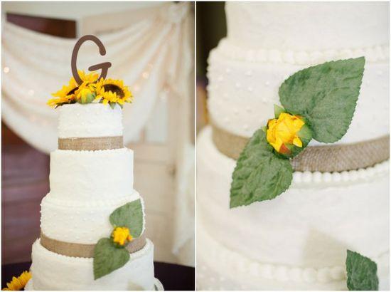 Sunflower Themed Wedding Cake