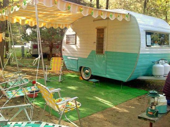 Vintage Canned Ham Travel Trailer Camper