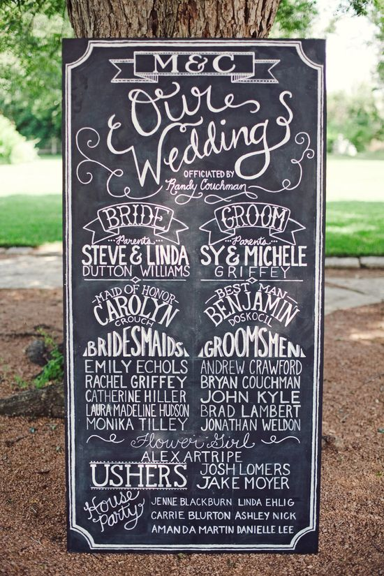Wedding Chalkboard Program