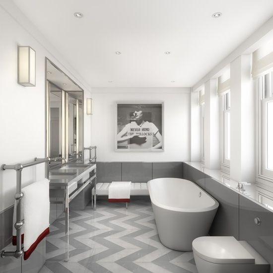 chevron floors + modern bathroom design via Tom