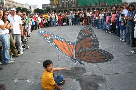 Julian Beever's amazing 3d pavement art.  Enormous butterfly.