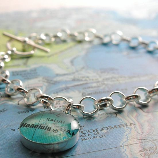 made to order : : sterling toggle vintage map bracelet : : you select any place in the world