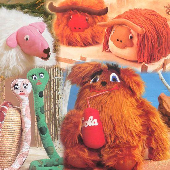 retro stuffed animal patterns