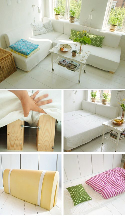 Alternative to couches: two twin beds that can swivel. DIY tutorial includes super easy design for headboard/back of couch. Clever!