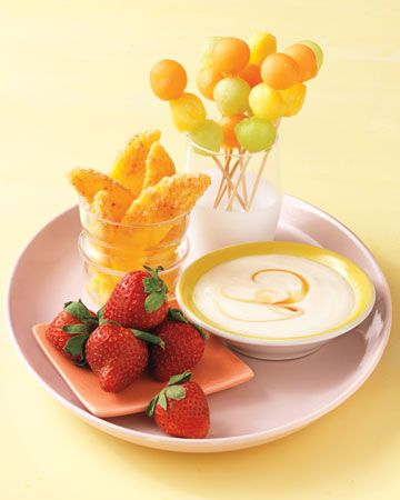 Spa Snacks by marthastewart: Healthy fruit skewers, coconut-y mangoes, and yogurt-honey dip. #Snacks #Fruit #Healty