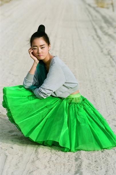 green pleats.