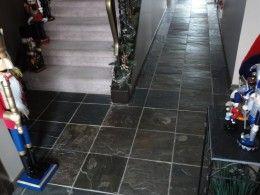 Love the dark slate tile floor.