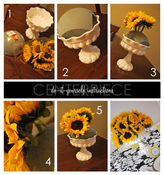 Sunflower Centerpiece DIY what do you think about this @Jeffrey Hicks Jr. @April Cheatham @Cathy Smith