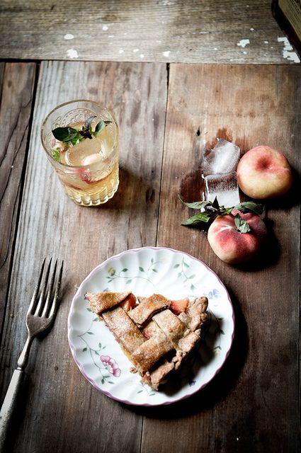 Peach Lattice Pie + Peach, Basil, & Amaretto Spritzer
