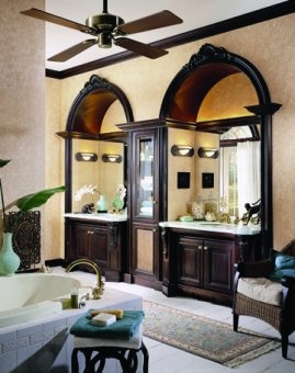 Gothic arched vanity alcoves in the bathroom