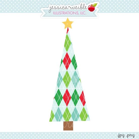 Argyle Christmas Tree - JW Illustrations - Christmas Tree Graphic {new FREE Graphic, EVERY DAY!} #Christmas #holiday #event #graphics #illustration