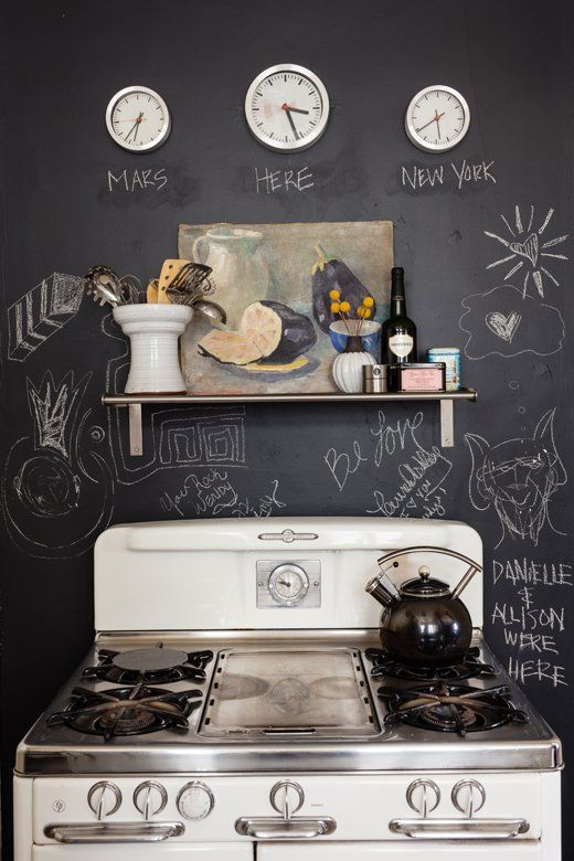 chalkboard wall in kitchen of Wendy Haworth