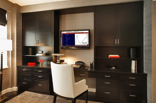 Change the TV for the window and make the desk into more cabinets.... PERFECT for the office wall!