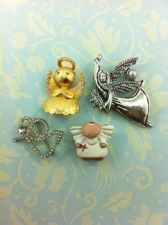 Vintage Christmas Angel brooch lot rhinestones by TheOldJunkTrunk, $8.00