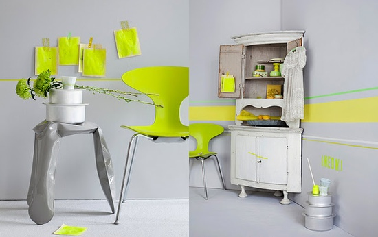 yellow neon & grey