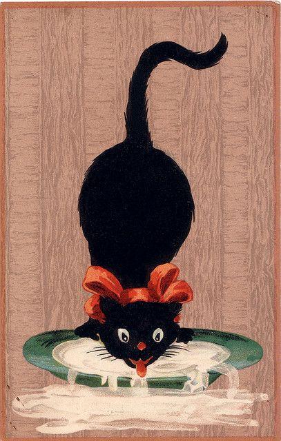 """Chat noir qui lappe du lait, Vers 1920 - Carte postale anglaise """"Mish & Co's: The black cat series"""""""